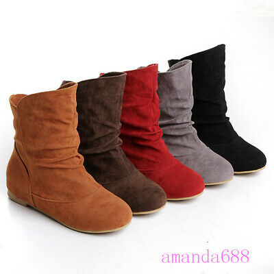 Womens Winter Flat Faux Suede Low Heel Zip Back Lace Ankle Boots Hidden Wedge Sh