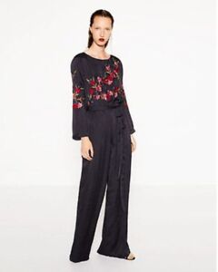 f13ffb82332a Image is loading Zara-Navy-blue-jumpsuit-with-floral-embroidery-BNWT-
