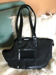 Black-Patent-Leather-Alligator-Dog-Carrier-Bag-Fleece-Lined-Leash-Clip-Vented