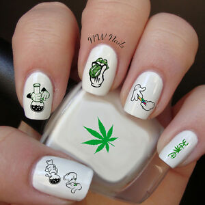 Stoner Hands Day Nail Art Water Slide Decals Pot Leaf Weed420dope