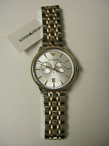 M-EMPORIO-ARMANI-ROSE-GOLD-amp-SILVER-CHRONOGRAPH-WATCH-AR1826-NEW-WITH-TAG