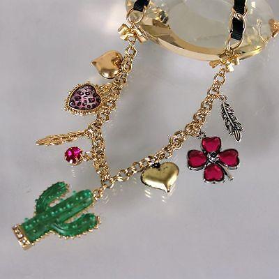 N62 Betsey Johnson Cactus Desert w/ Lucky Shamrock Heart Charm Necklace US