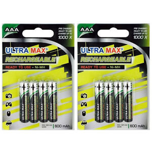 Solar Light Um Der Bequemlichkeit Des Volkes Zu Entsprechen Akkus 8 X Ultramax Aaa 600mah Rechargeable Ni-mh Batteries Dect Phone