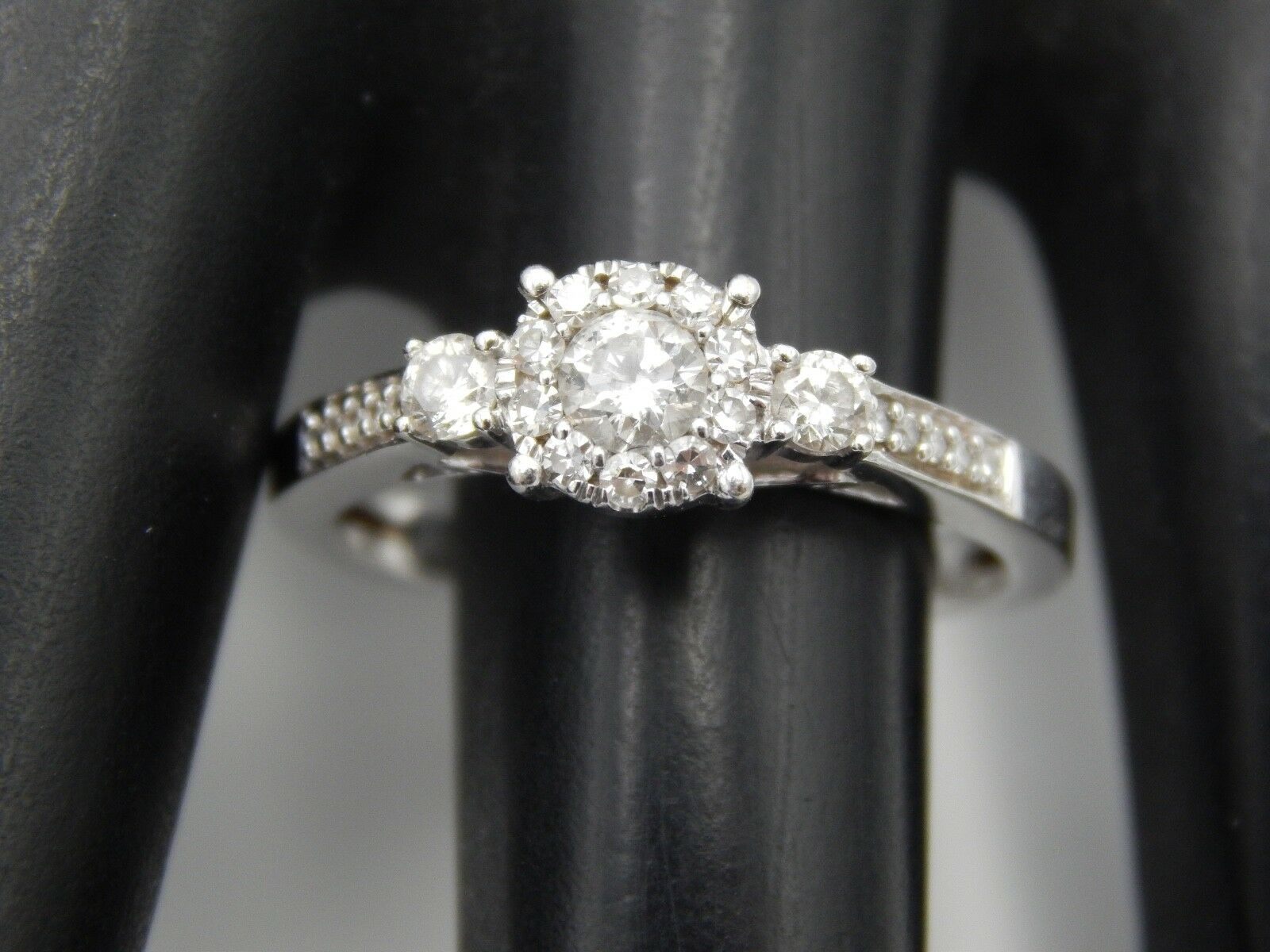 14k WG Round Diamond Halo Engagement Ring .50 tcw G SI eye clean Retail  1800