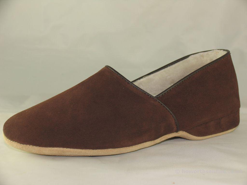 Pantofole da uomo Da Uomo Draper of Glastonbury Anton Marrone/Blu Marino/Dado/Vino Pelle Scamosciata Pantofole completo