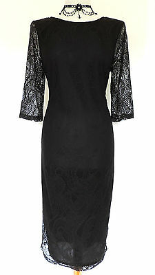 Sexy LONG BLACK LACE SHIFT DRESS Romantic Goth VAMP Evening COCKTAIL Party 12