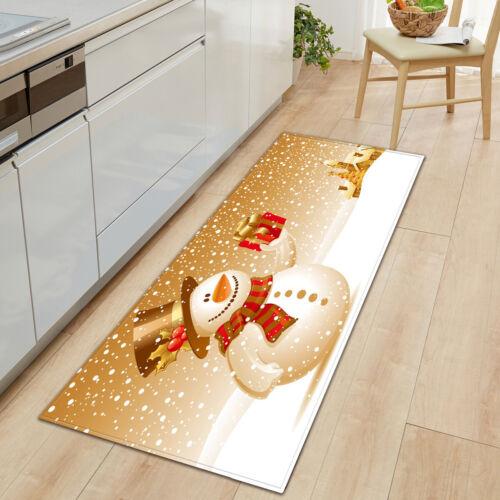 Cute Snowman Floor Mat Snowflake Soft Kitchen Bathroom Pad Doormat Runner Rugs