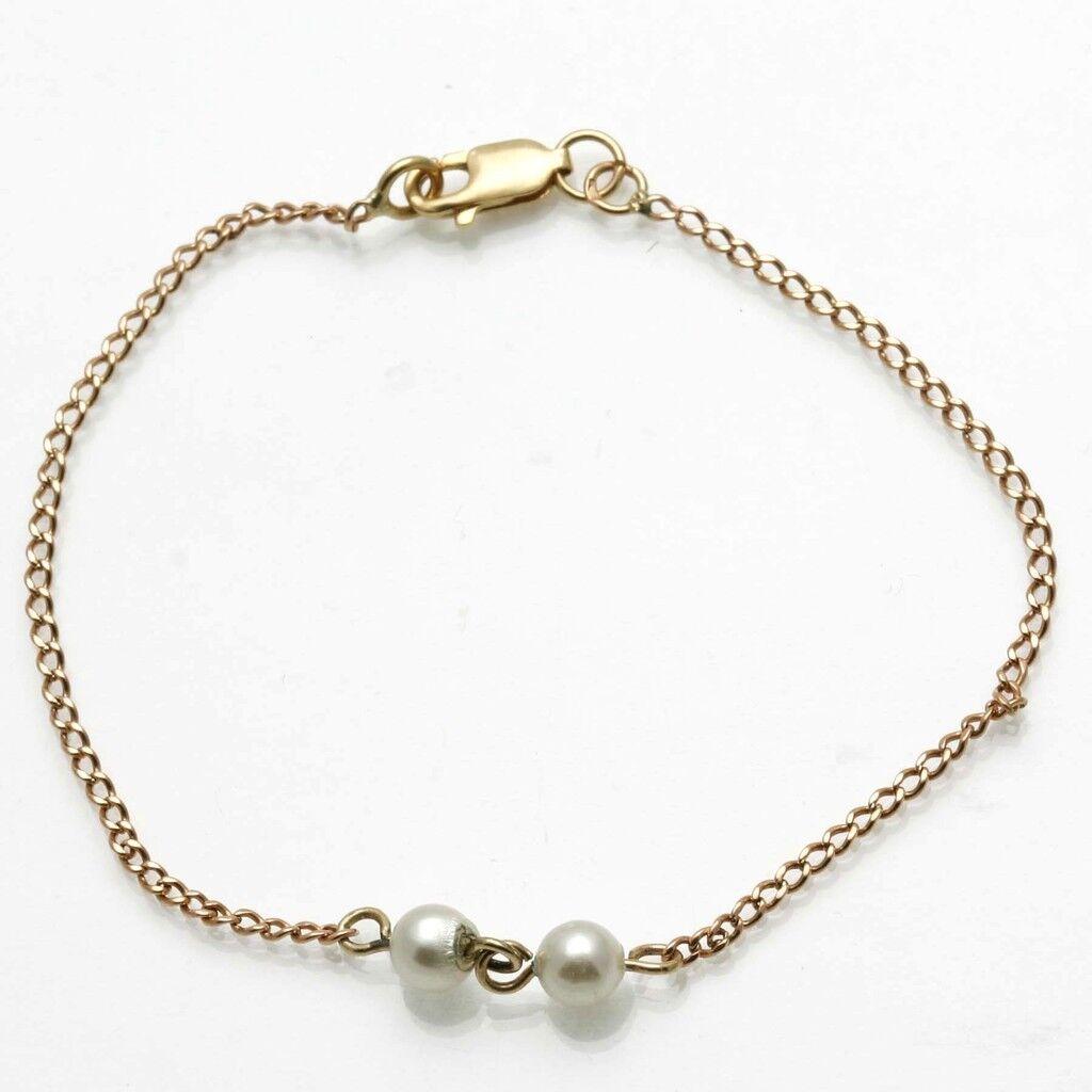 Vintage 14k white pearl chain bracelet yellow gold Dainty Estate