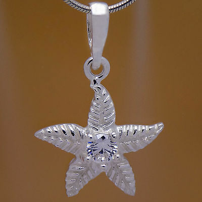 Amazing Design Solid 925 Sterling Silver Beautiful Flower Starfish CZ Pendant
