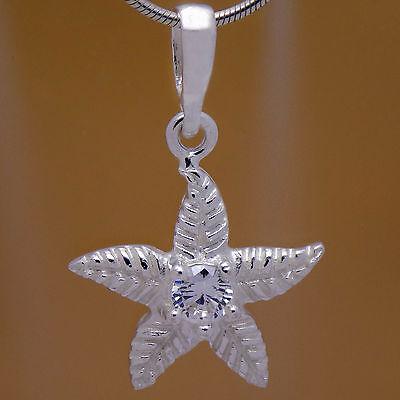 Amazing Design Solid 925 Sterling Silver Beautiful Flower Starfish CZ Pendant