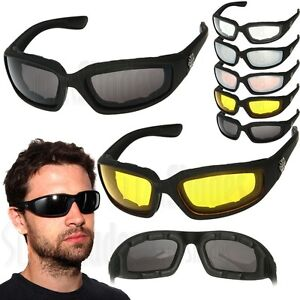 2-PAIR-COMBO-Chopper-Padded-Wind-Resistant-Sunglasses-Motorcycle-Riding-Glasses