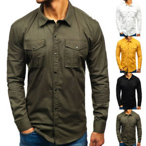 Men-Long-Sleeve-Cargo-Shirt-Work-Cotton-Shirt-Double-Pockets-Solid-Slim-Casual