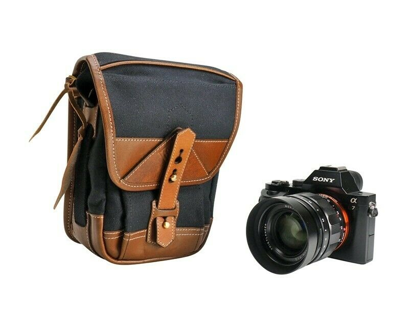 Fogg Flute M9 Pouch Camera Bag Black Fabric with Havana Leather