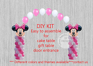 Pink Minnie Mouse Balloon Arch With Columns Birthday Party