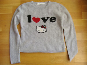 Pull-gris-HELLO-KITTY-Cachemire-VICTORIA-12-ans