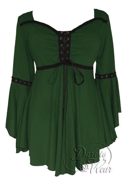 Dare to wear gothique victorien taille plus Ophelia corset top en envy vert