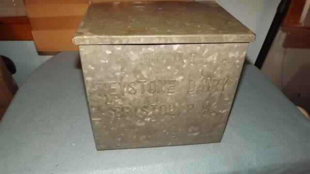 Vintage Metal Keystone Dairy Milk Box Home Delivery