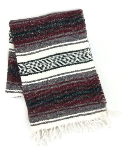 """Mexican Blanket Serape Saltillo Throw Maroon Gray Black White 52/""""x74/"""""""