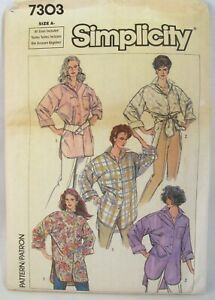 Vtg-Women-Button-Big-Shirt-Easy-Simplicity-Pattern-7303-Long-Back-Sz-10-24-Uncut