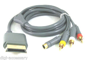 NEW-S-Video-Composite-AV-RCA-Cable-Cord-for-For-Microsoft-Xbox-360-TV-Game