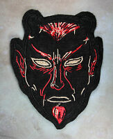 Embroidered Black Devil Patch - Retro Demon Krampus Halloween Black Felt