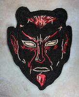 Embroidered Black Devil Patch - Retro Demon Krampus Halloween Black Felt