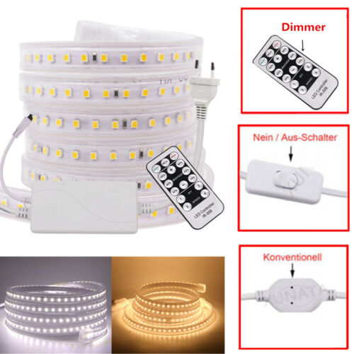 Dimmbar LED Streifen Stripe Wasserdicht Band Leiste 2835 Licht Außen 220V 230V