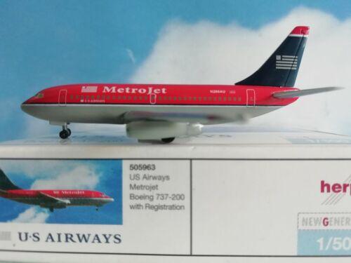 1:500 Herpa Wings 505963 US Airways Boeing 737-200 Metrojet