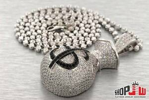 Simulated-Diamond-Money-Bag-Pendant-26-CHAIN-SET-925-Silver-Iced-Out-Hip-Hop