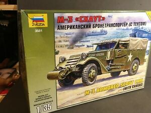 With Canvas Zvezda 3581-1//35 U.S M-3 Scout Armored Car - Neu