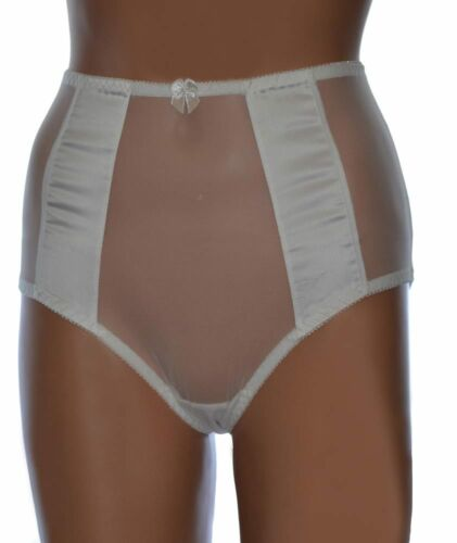 Sheer Mesh Knickers with Satin Front Panels High Waisted Vintage Style Panties