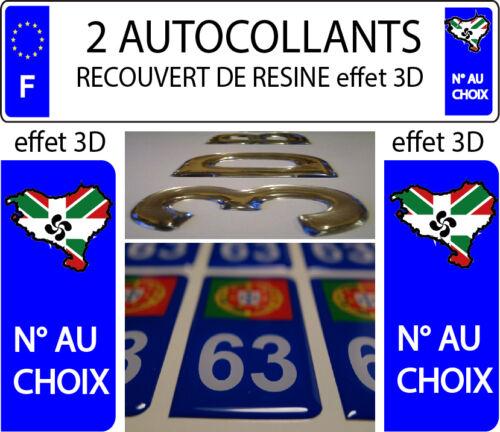 2 STICKERS RECOUVERT DE RESINE IMMATRICULATION DEPARTEMENT PAYS BASQUE 64 ref 3