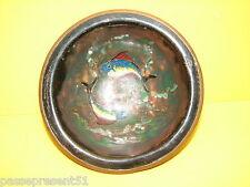 Joli ancien émaux sur cuivre signé décor poissons