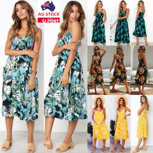 Plus-Size-Women-Boho-Floral-Sleeveless-Maxi-Long-Dress-Summer-Beach-Party-Dress