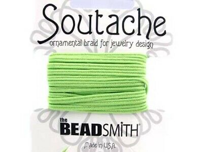 Beadsmith soutache rayon braided cord Sage 3mm wide green 3 yds