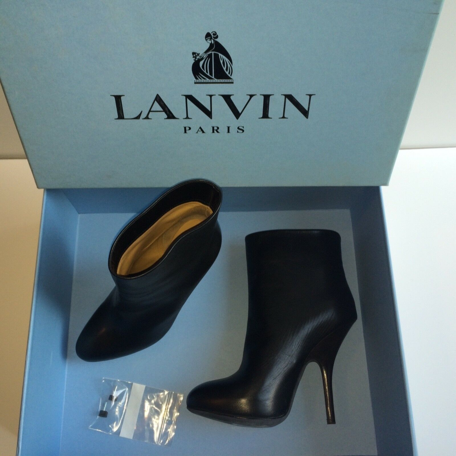 Lanvin Luxury Calf Skin Ankle Boots, Navy, Size 2 UK, 35 EU.