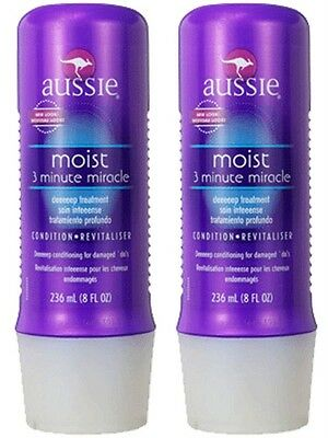 "2X AUSSIE ""3-Minute Miracle"" Moist Deep Conditioner 8fl oz NEW Damaged Hair Two"