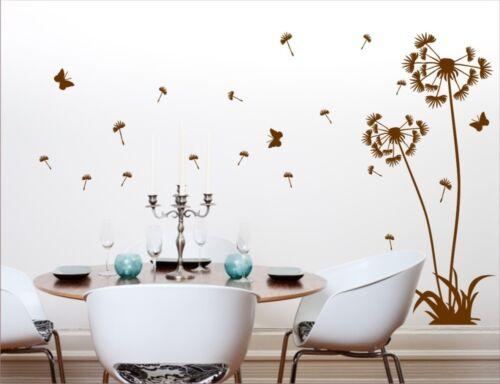 *G* Wandtattoo Blumenranke Pusteblume Schmetterling Blumen Wohnzimmer Aufkleber