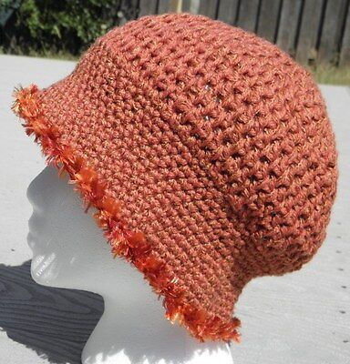 Graceful Amber Color Smaller Size Crocheted Cloche - Handmade by Michaela