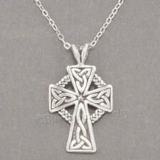 "925 CELTIC CROSS Irish Charm Pendant STERLING SILVER 18"" chain Necklace"