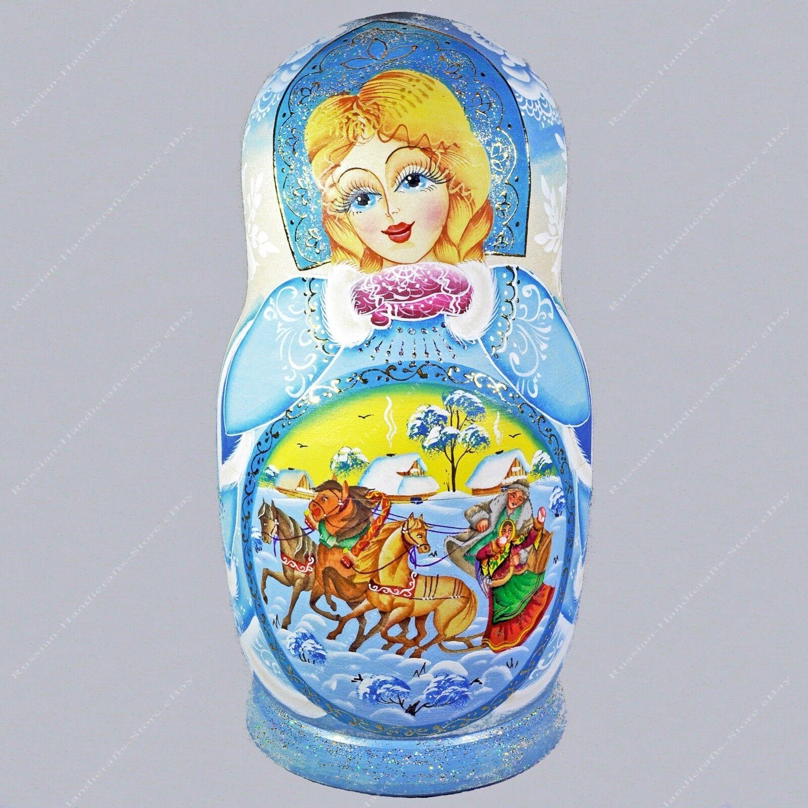 20.3cm Hermoso Ruso Invierno Matrioska Muñecas-caja Fedoskino Miniaturas 7PCS