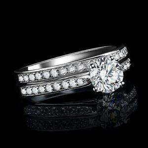 Para-mujer-chapado-en-oro-blanco-compromiso-de-Cristal-Diamante-Anillo-de-boda-conjunto-de-dos