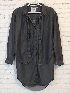 Cheap-Monday-Womens-Tunic-Shirt-Size-XS-Gray-Long-Sleeve-Layered-Oversized