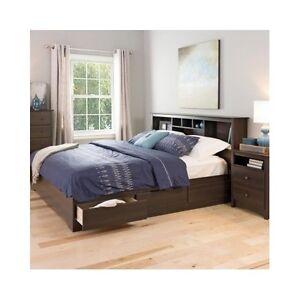platform storage bed king size drawers frame bookcase headboard modern wood new. Black Bedroom Furniture Sets. Home Design Ideas