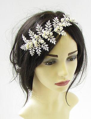 Silver Leaf Ivory White Pearl Headdress Headpiece Headband Bridal Hair Vine 785