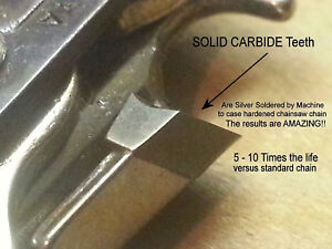 "S62 SOLID Carbide Chainsaw Chain 18/"" 3//8/"" 62DL Poulan Pro Craftsman *SEE VIDEO*"