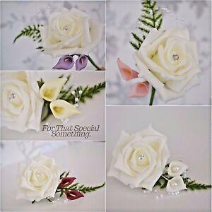 Wedding rose buttonhole corsage flower white ivory callalily pearl image is loading wedding rose buttonhole corsage flower white ivory callalily mightylinksfo