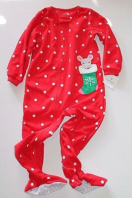 ac4bf8bdf114 Carter s Girl 1 PC Fleece Footed Sleeper pajama 4t Christmas Mouse ...