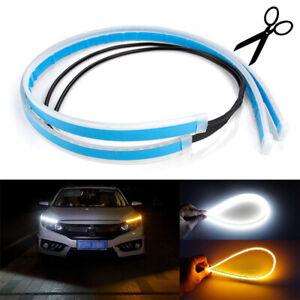 2X-60cm-White-Amber-Headlight-Daytime-LED-Strip-DRL-For-Universal-Tube-12V