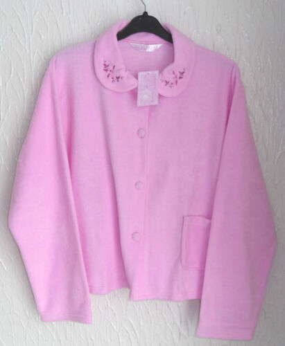 20//22 LADIES  FLEECE LONG SLEEVED PINK BUTTON FRONTED BED JACKET SIZE